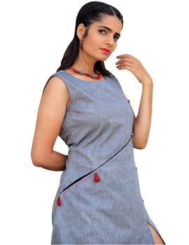 GREY MANGALAGIRI PRINCESS SLIT DRESS : LK310B-M-1-sm