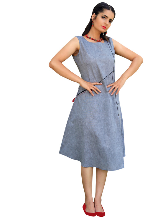 GREY MANGALAGIRI PRINCESS SLIT DRESS : LK310B-LK310B-L