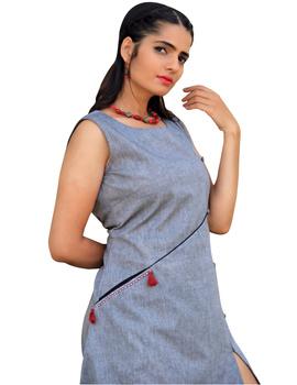 GREY MANGALAGIRI PRINCESS SLIT DRESS : LK310B-L-1-sm