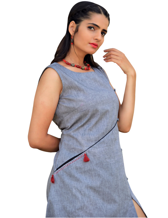 GREY MANGALAGIRI PRINCESS SLIT DRESS : LK310B-L-1