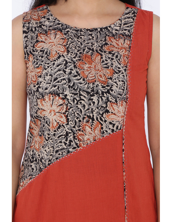 BRICK RED A LINE KURTA WITH FRONT SLIT: LK 315A-S-1