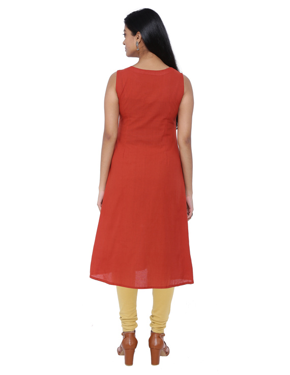 BRICK RED A LINE KURTA WITH FRONT SLIT: LK 315A-S-2