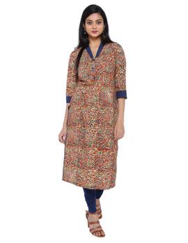 Orange kalamkari straight kurta with shawl collar: LK 330C-LK330C-S-sm
