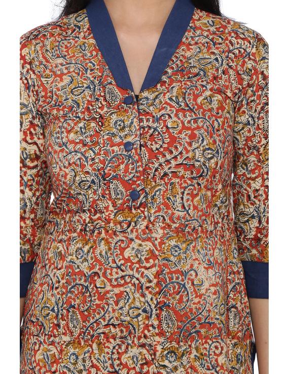 Orange kalamkari straight kurta with shawl collar: LK 330C-S-1