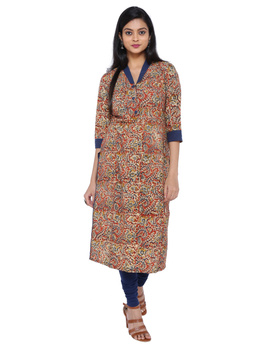 Orange kalamkari straight kurta with shawl collar: LK 330C-LK330C-M-sm