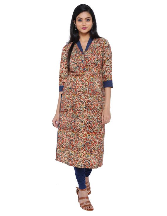 Orange kalamkari straight kurta with shawl collar: LK 330C-LK330C-M