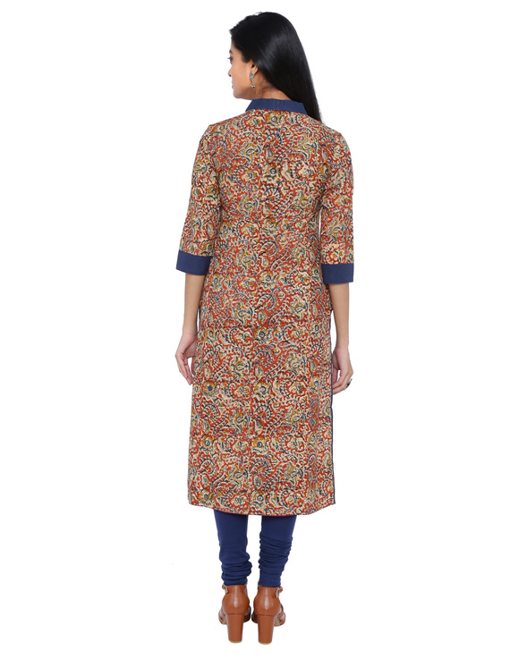 Orange kalamkari straight kurta with shawl collar: LK 330C-M-2