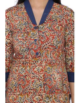 Orange kalamkari straight kurta with shawl collar: LK 330C-L-1-sm