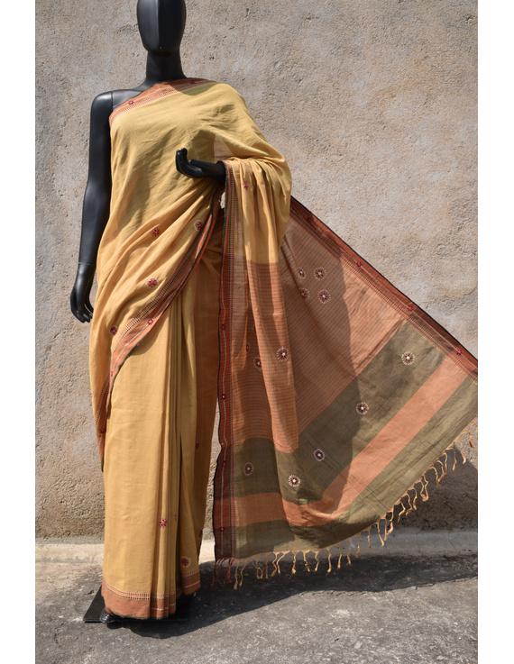Handloom saree with hand embroidery : SM13-SM13