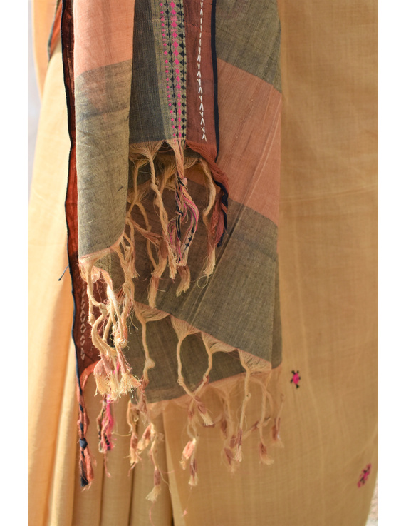 Handloom saree with hand embroidery : SM13-2