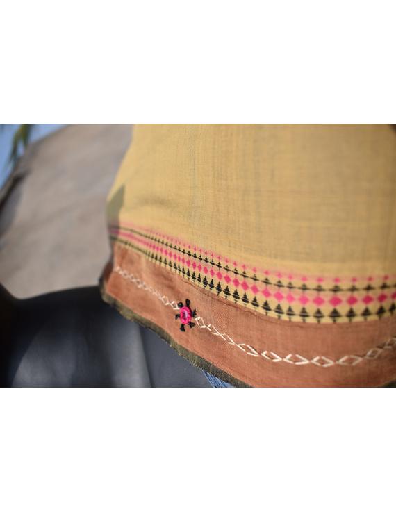 Handloom saree with hand embroidery : SM13-1