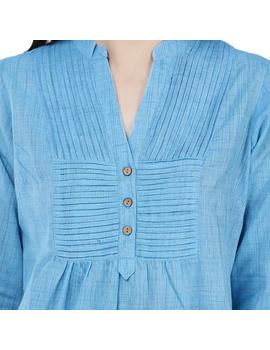 Full sleeve light blue mangalagiri cotton tunic LT101D-S-1-sm
