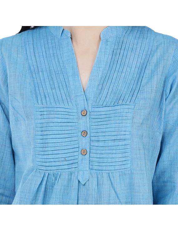 Full sleeve light blue mangalagiri cotton tunic LT101D-S-1