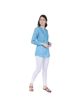 Full sleeve light blue mangalagiri cotton tunic LT101D-S-3-sm
