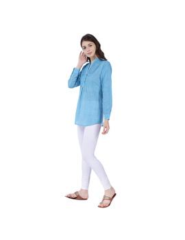 Full sleeve light blue mangalagiri cotton tunic LT101D-S-2-sm