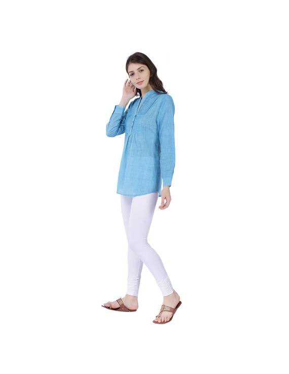 Full sleeve light blue mangalagiri cotton tunic LT101D-S-2