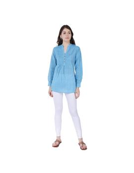 Full sleeve light blue mangalagiri cotton tunic LT101D-LT101D-S-sm