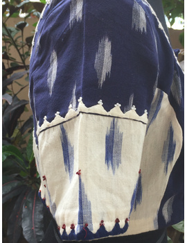 Blue and white ikat blouse with hand embroidery: RB05A-S-1-sm