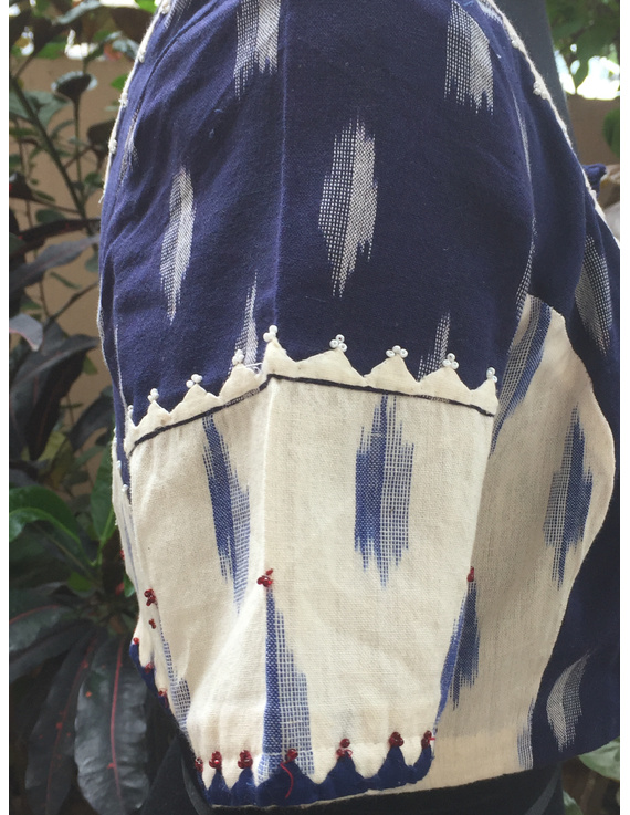 Blue and white ikat blouse with hand embroidery: RB05A-S-1