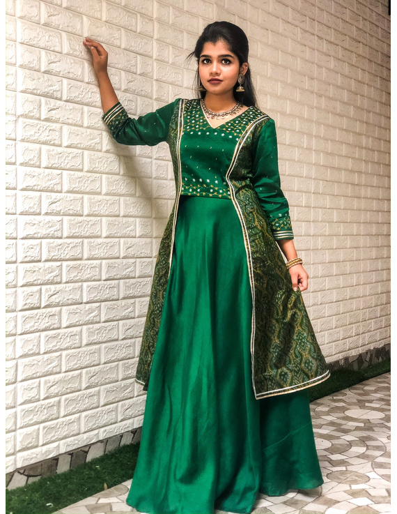 Green hand embroidered chanderi and silk ikat lehenga set: FV110B-S-1