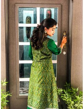Green hand embroidered chanderi and silk ikat lehenga set: FV110B-S-3-sm