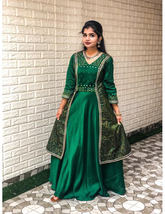 Green hand embroidered chanderi and silk ikat lehenga set: FV110B-FV110B-S