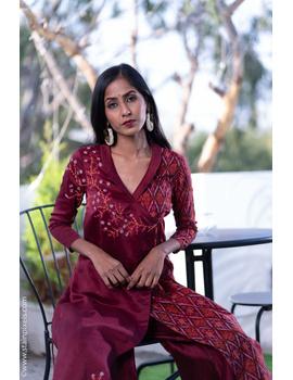 Maroon chanderi and silk ikat angarkha kurta with palazzo set: FV120B-S-2-sm