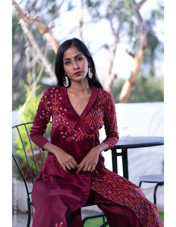 Maroon chanderi and silk ikat angarkha kurta with palazzo set: FV120B-S-2