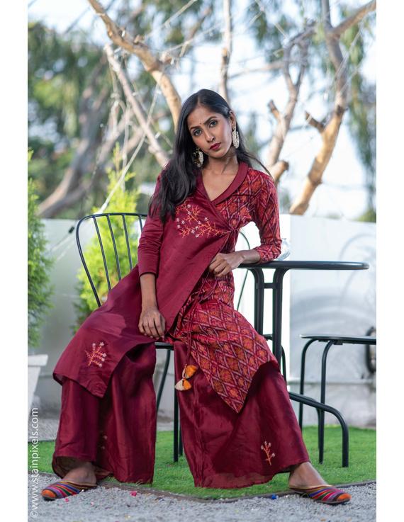 Maroon chanderi and silk ikat angarkha kurta with palazzo set: FV120B-M-1