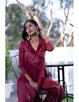 Maroon chanderi and silk ikat angarkha kurta with palazzo set: FV120B-FV120B-M-sm