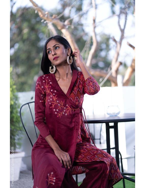 Maroon chanderi and silk ikat angarkha kurta with palazzo set: FV120B-FV120B-M