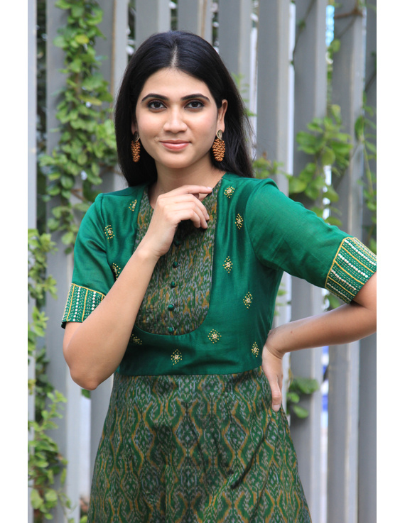 Green chanderi and SICO ikat gown with hand embroidery: FV130A-M-1