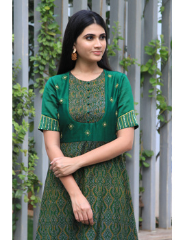 Green chanderi and SICO ikat gown with hand embroidery: FV130A-FV130A-M-sm