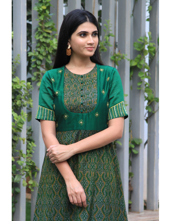 Green chanderi and SICO ikat gown with hand embroidery: FV130A-FV130A-M