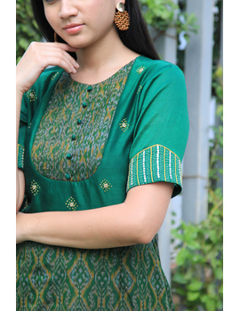 Green chanderi and SICO ikat gown with hand embroidery: FV130A-M-2-sm