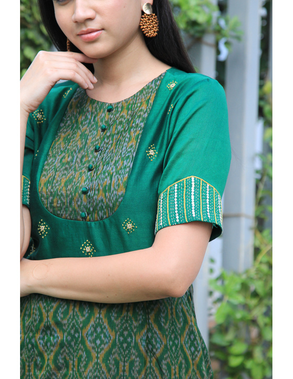Green chanderi and SICO ikat gown with hand embroidery: FV130A-M-2