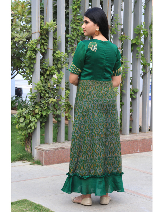Green chanderi and SICO ikat gown with hand embroidery: FV130A-M-3