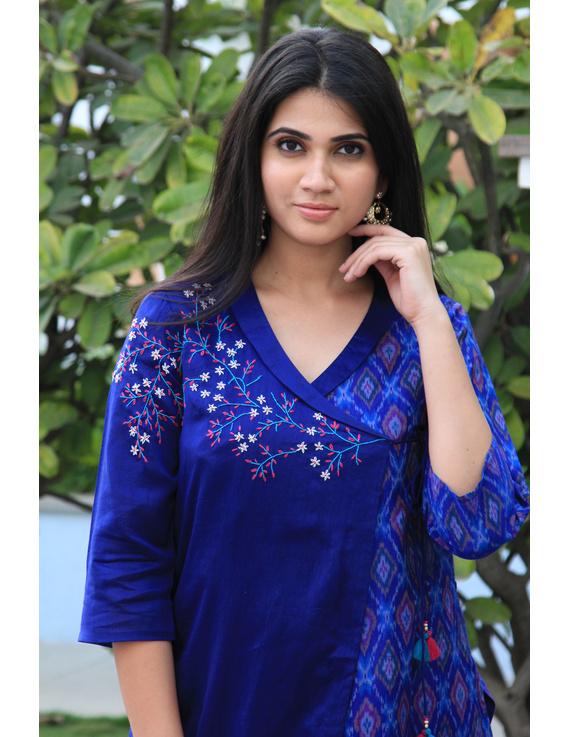 Blue chanderi and silk ikat angarkha kurta with palazzo set: FV120A-FV120A-S