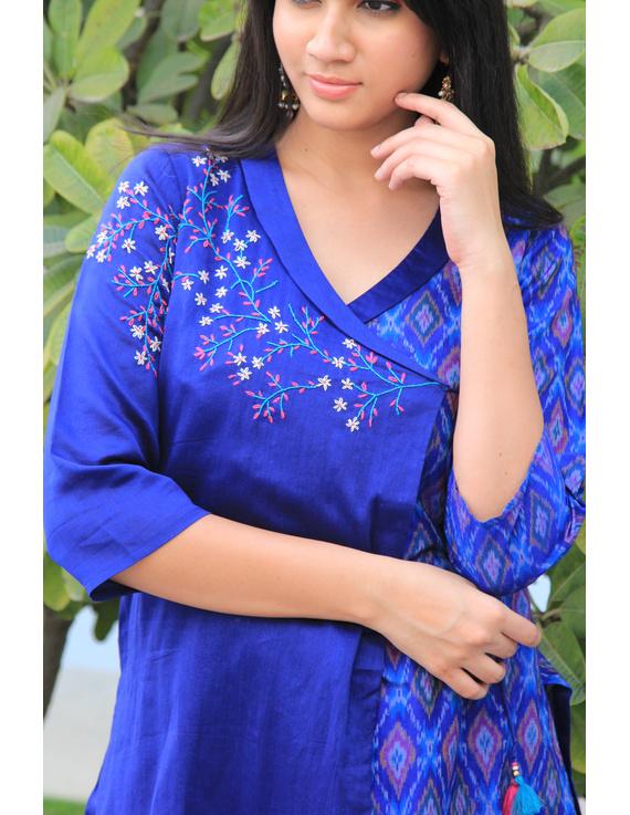 Blue chanderi and silk ikat angarkha kurta with palazzo set: FV120A-S-1