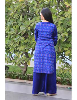 Blue chanderi and silk ikat angarkha kurta with palazzo set: FV120A-S-2-sm