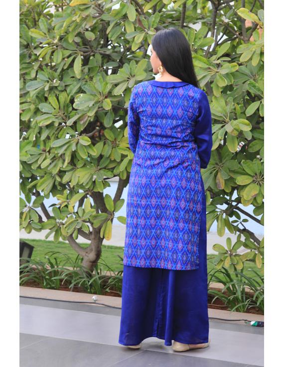 Blue chanderi and silk ikat angarkha kurta with palazzo set: FV120A-S-2