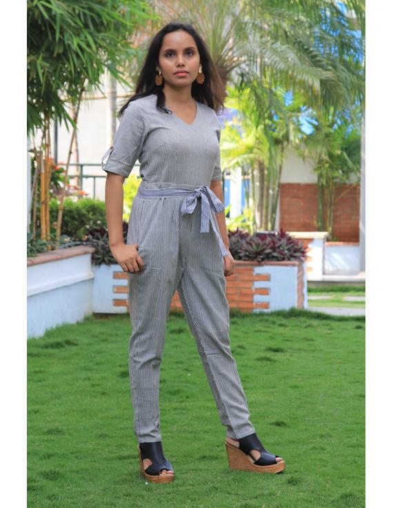 Black and white striped handloom cotton jumpsuit : JS01C-JS01C-XS