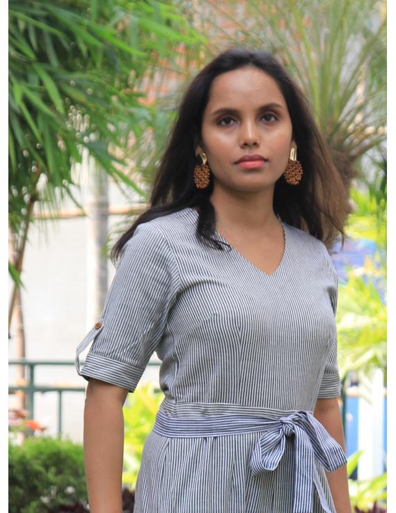 Black and white striped handloom cotton jumpsuit : JS01C-XS-1