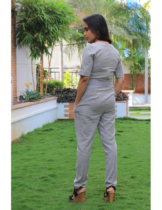 Black and white striped handloom cotton jumpsuit : JS01C-XS-2
