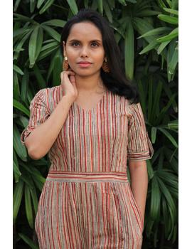 Kalamkari cotton multicolour striped jumpsuit : JS01D-M-2-sm