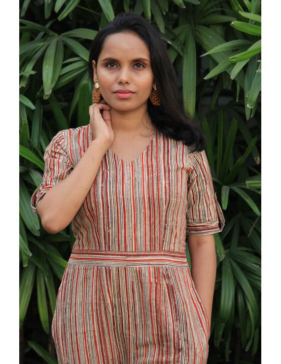 Kalamkari cotton multicolour striped jumpsuit : JS01D-M-2