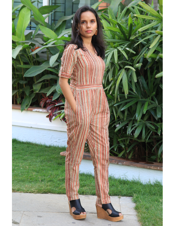 Kalamkari cotton multicolour striped jumpsuit : JS01D-M-1