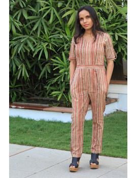 Kalamkari cotton multicolour striped jumpsuit : JS01D-JS01D-M-sm