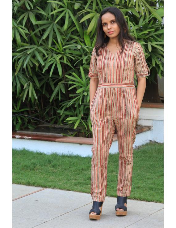 Kalamkari cotton multicolour striped jumpsuit : JS01D-JS01D-M