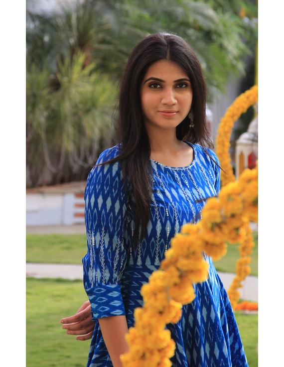 Blue semi silk ikat dress with handkerchief hem: LD500D-M-3